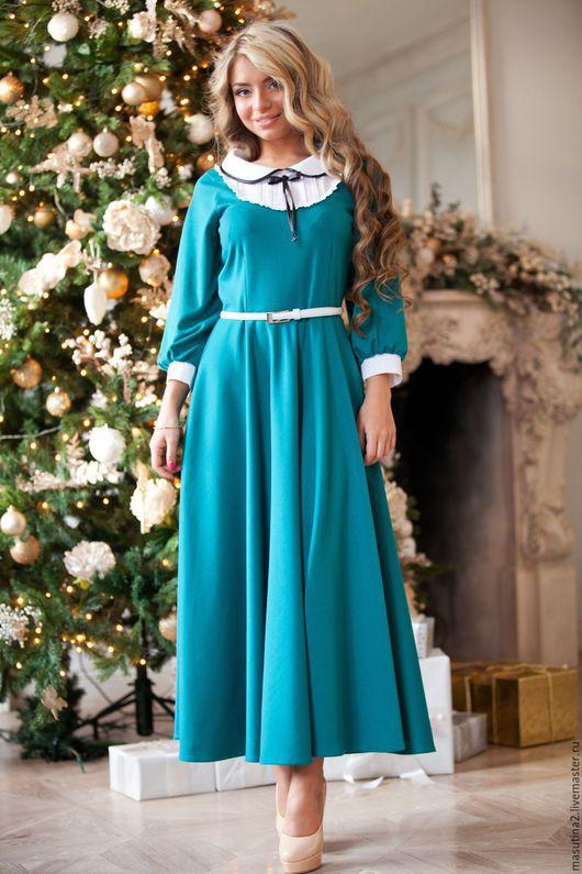"""Платья ручной работы. Ярмарка Мастеров - ручная работа. Купить Платье """"Генриетта"""". Handmade. Тёмно-бирюзовый, платье на заказ"""