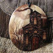 Украшения ручной работы. Ярмарка Мастеров - ручная работа кулон Пейзаж в кофейных тонах. Handmade.