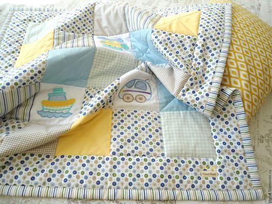 Для новорожденных, ручной работы. Ярмарка Мастеров - ручная работа. Купить Одеяло лоскутное для мальчика на выписку. Handmade. Голубой, вышивка