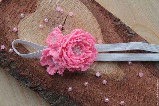 Детская бижутерия ручной работы. Ярмарка Мастеров - ручная работа. Купить Повязка для волос, ярко розовая. Handmade. Розовый