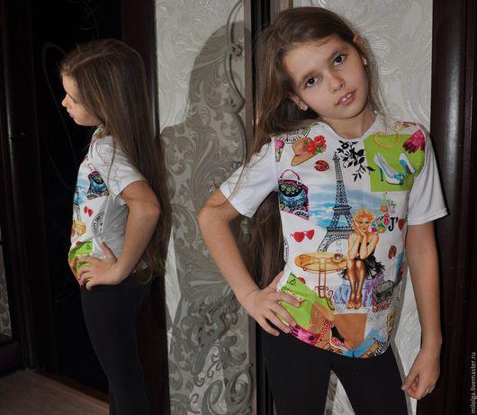 Одежда для девочек, ручной работы. Ярмарка Мастеров - ручная работа. Купить Футболка летняя. Handmade. Белый, футболка с рисунком