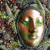 Украшения ручной работы. Ярмарка Мастеров - ручная работа Колье из бисера с фарфоровым ликом  Душа пирита. Handmade.