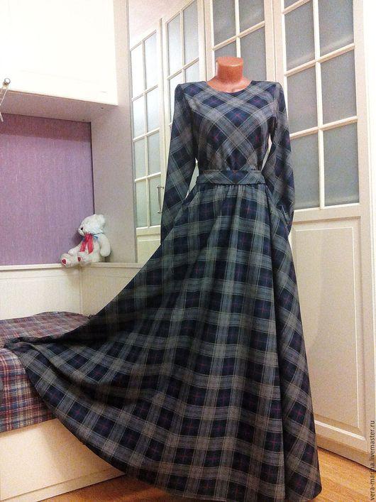 Платья ручной работы. Ярмарка Мастеров - ручная работа. Купить Осеннее платье в пол с юбкой полусолнце Генриетта. Handmade. Серый
