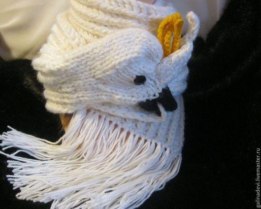 Шарфы и шарфики ручной работы. Ярмарка Мастеров - ручная работа. Купить ШАРФ с ПОПУГАЕМ  вязаный зверошарф. Handmade. Белый, птица