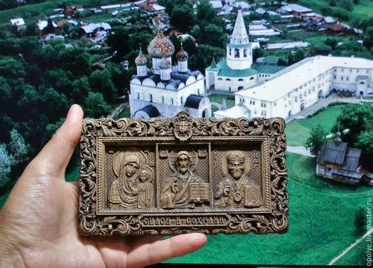 Иконы ручной работы. Ярмарка Мастеров - ручная работа. Купить Миниатюрная резная Икона из дерева - Триптих. Handmade. Икона