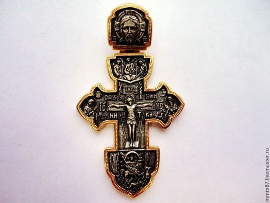 """Кулоны, подвески ручной работы. Ярмарка Мастеров - ручная работа. Купить Нательный крест из серебра с оксидом  """"Символ веры"""". Handmade."""