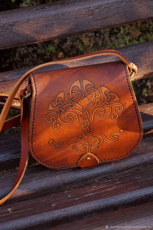 Сумка Женская кожаная сумка через плечо Рыжая кожаная сумка с рисунком, Классическая сумка, Рамонь,  Фото №1