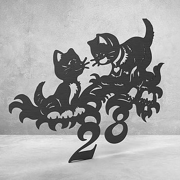"""Для дома и интерьера ручной работы. Ярмарка Мастеров - ручная работа Номерок на дверь """"Kittens"""". Handmade."""