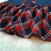 Одежда ручной работы. Ярмарка Мастеров - ручная работа Юбка джинс/клетка, на кокетке с воланом, сине-бордовая. Handmade.