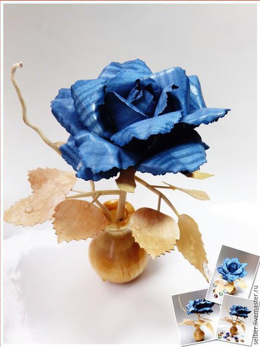 Статуэтки ручной работы. Ярмарка Мастеров - ручная работа. Купить Роза из дерева. Handmade. Синий, роза в вазе, хрусталь
