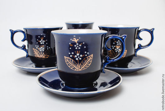 Винтажные предметы интерьера. Ярмарка Мастеров - ручная работа. Купить Комплект 4 шт Фарфоровая чашка и блюдце, кобальт, фарфор позолота. Handmade.