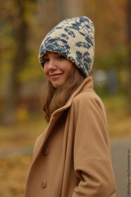 Шапки ручной работы. Ярмарка Мастеров - ручная работа. Купить Вязаная шапка BEANIE ROSE white&blu. Handmade. Шапка вязаная