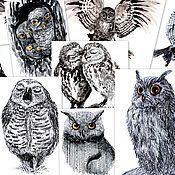 Открытки ручной работы. Ярмарка Мастеров - ручная работа Набор 10 открыток с совами. Handmade.