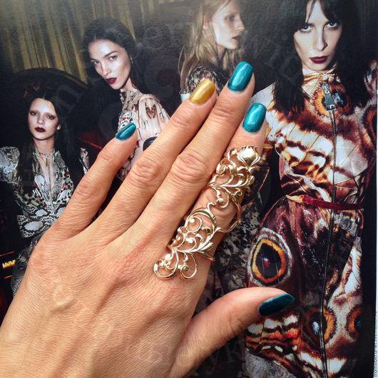 Кольца ручной работы. Ярмарка Мастеров - ручная работа. Купить Кольцо на весь палец, золото 585 (арт. К147). Handmade. Желтый