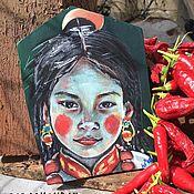 Картины ручной работы. Ярмарка Мастеров - ручная работа Портрет девочки с перцами Тибет. Handmade.