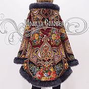 """Одежда ручной работы. Ярмарка Мастеров - ручная работа Пальто-накидка с отстегивающимся капюшоном """"Майя-2"""" из ПП шалей. Handmade."""