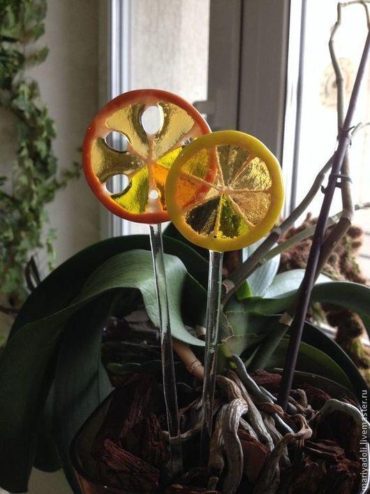 Украшения для цветов ручной работы. Ярмарка Мастеров - ручная работа. Купить Лимонные дольки - украшение для горшечных растений. Handmade. Желтый
