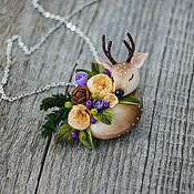 Украшения handmade. Livemaster - original item Pendant - brooch deer and flowers from polymer clay. Handmade.