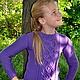 Одежда для девочек, ручной работы. Ярмарка Мастеров - ручная работа. Купить Джемпер вязаный для девочки   с загадочными переплетениями. Handmade. Фиолетовый