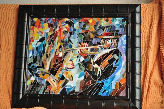 """Люди, ручной работы. Ярмарка Мастеров - ручная работа. Купить мозаика из стекла """"джаз"""". Handmade. Джаз, мозаика, картина из стекла"""