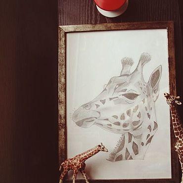 """Картины и панно ручной работы. Ярмарка Мастеров - ручная работа Картина """"Жираф"""". Графика.. Handmade."""