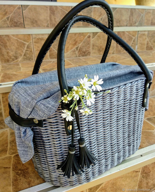 Сумка корзинка плетеная серого цвета с кожаными ручками, Классическая сумка, Заречный,  Фото №1