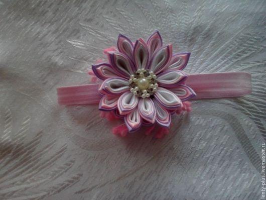 """Диадемы, обручи ручной работы. Ярмарка Мастеров - ручная работа. Купить Повязочка для малышки """"Розовый цветок"""". Handmade. Повязка для девочки"""