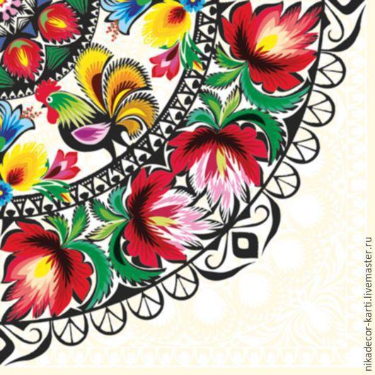 Петушок и цветы (SLOG016601) - салфетка для декупажа, , Москва, Фото №1