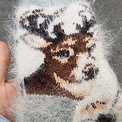 Носки ручной работы. Ярмарка Мастеров - ручная работа Носки с оленем. Очень теплые. Handmade.