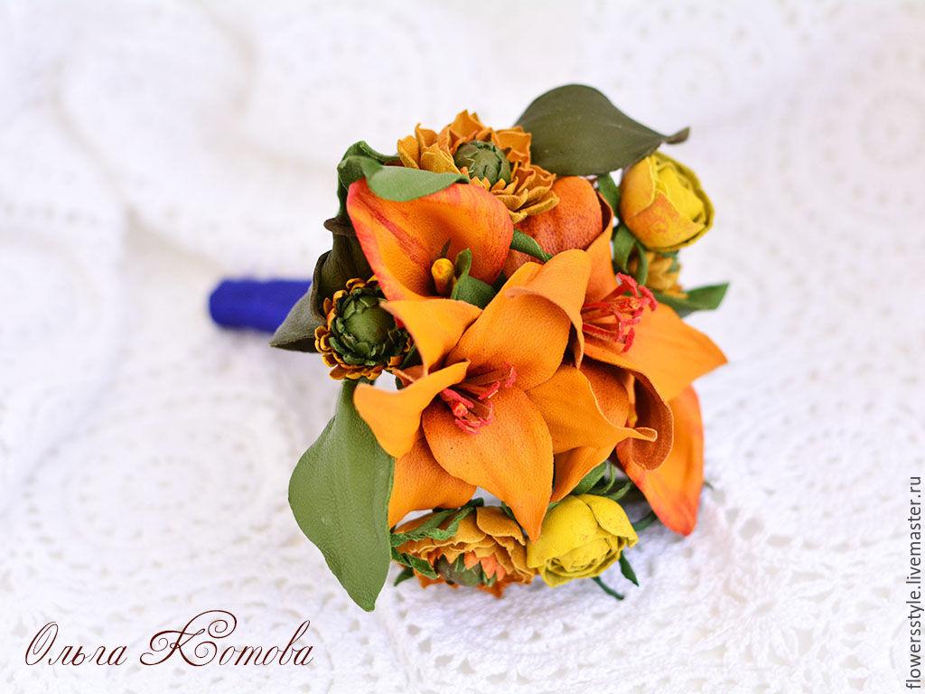 Interior wedding Bridal bouquet understudy leather Orange flowers ...