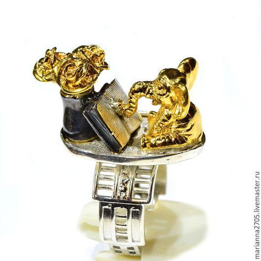 """Кольца ручной работы. Ярмарка Мастеров - ручная работа. Купить """"Тайна склеенных страниц.."""" серебряное кольцо с читающим слоном. Handmade."""