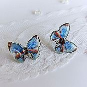 Украшения handmade. Livemaster - original item Delicate Transparent Earrings Blue Ice Blue Butterfly. Handmade.