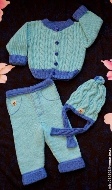 Одежда для мальчиков, ручной работы. Ярмарка Мастеров - ручная работа. Купить вязаный костюм для мальчика, вязаный комплект. Handmade. Голубой