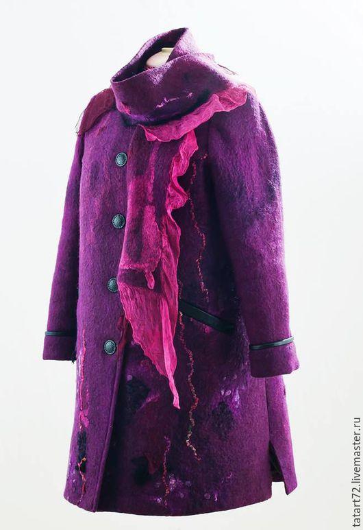 """Верхняя одежда ручной работы. Ярмарка Мастеров - ручная работа. Купить Пальто войлок """" Фуксия"""". Handmade. Фуксия, абстрактный"""