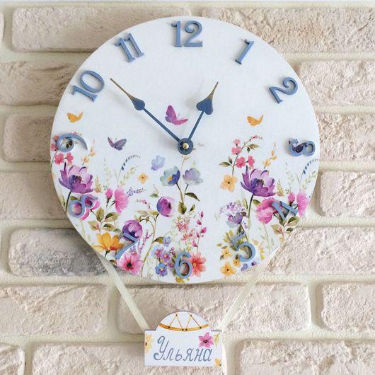 """Часы для дома ручной работы. Ярмарка Мастеров - ручная работа. Купить Настенные часы для детской комнаты """"Воздушный шар"""". Handmade."""