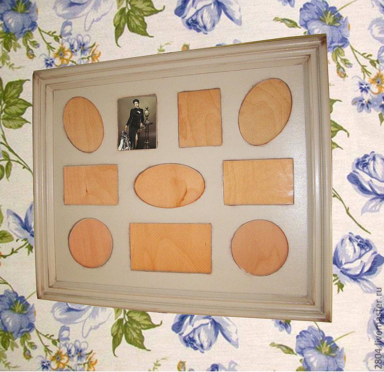 Фоторамки ручной работы. Ярмарка Мастеров - ручная работа. Купить Рамка для фото № 34 шебби Фоторамка на несколько фото. Handmade.