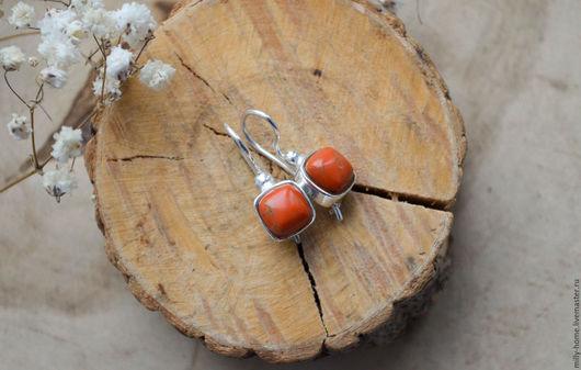 Серьги ручной работы. Ярмарка Мастеров - ручная работа. Купить Серьги посеребренные с оранжевой бирюзой. Handmade. Оранжевый, серьги подарок