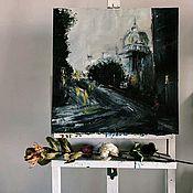 Картины ручной работы. Ярмарка Мастеров - ручная работа Пасмурный город. Handmade.