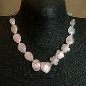 Украшения handmade. Livemaster - original item Necklace the Air of love. Natural rose quartz, silver, silver. Handmade.