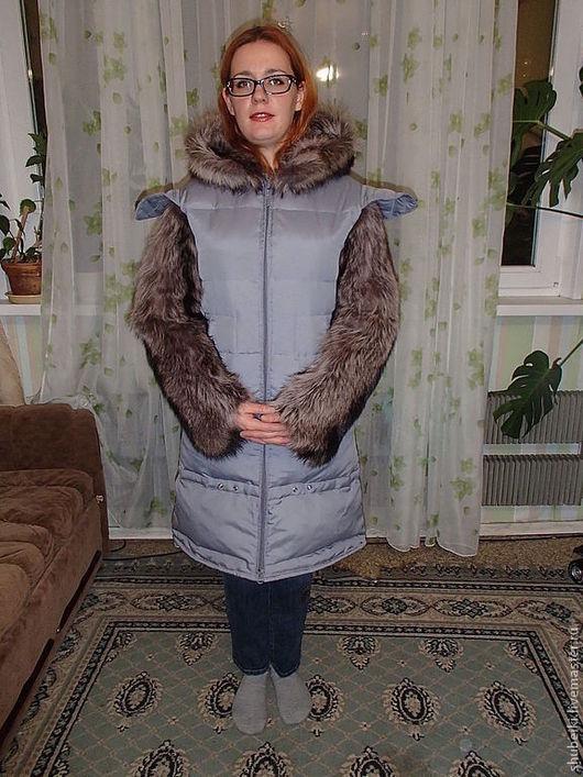 Верхняя одежда ручной работы. Ярмарка Мастеров - ручная работа. Купить Пуховик с енотом. Handmade. Сиреневый, натуральный мех, пальто