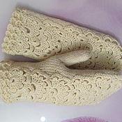 Аксессуары handmade. Livemaster - original item Mittens from wool mixture, cream.. Handmade.