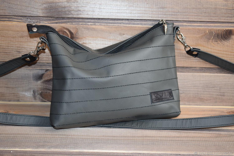 Женские сумки ручной работы. Ярмарка Мастеров - ручная работа. Купить Серая сумочка из натуральной кожи. Handmade. Серый