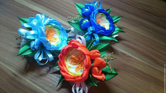 Детская бижутерия ручной работы. Ярмарка Мастеров - ручная работа. Купить Цветочки. Handmade. Тёмно-синий, ленты атласные