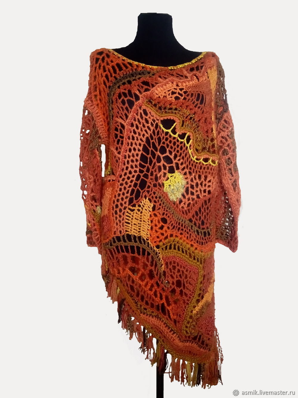 Crocheted tunic 'Orange dream', Shirts-nets, Moscow,  Фото №1