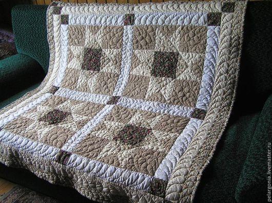 Пледы и одеяла ручной работы. Ярмарка Мастеров - ручная работа. Купить Одеяло лоскутное детское бежевое(пэчворк,стеганое покрывало). Handmade.