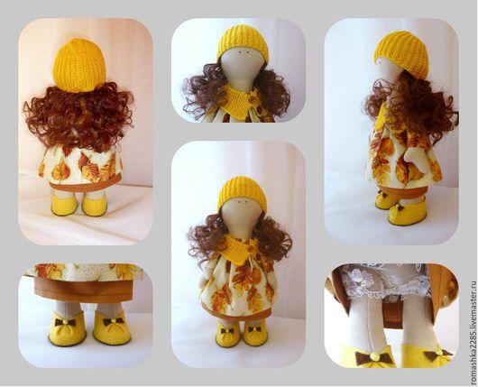 Куклы тыквоголовки ручной работы. Ярмарка Мастеров - ручная работа. Купить Интерьерная куколка. Handmade. Желтый, хлопок американский, полубусины