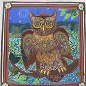 """Картины и панно ручной работы. Ярмарка Мастеров - ручная работа """"Ночная птица"""" панно. Handmade."""