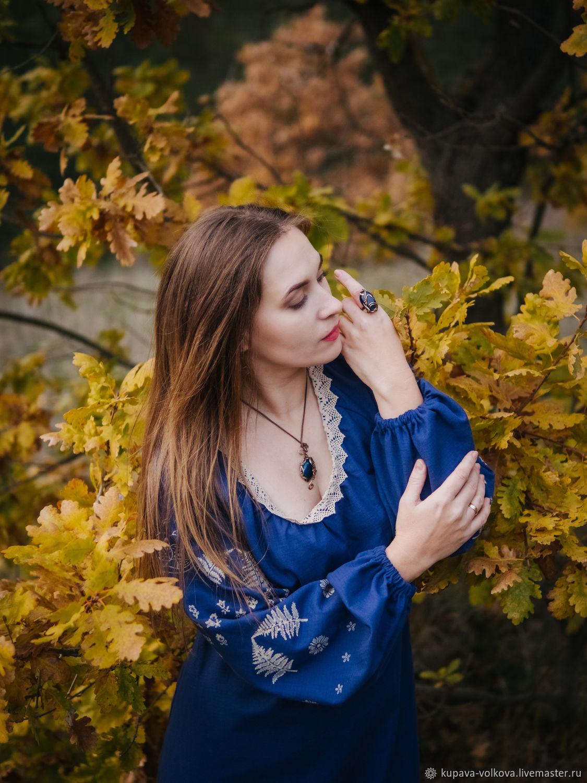 Len Boho blue long sleeve dress ' fairy Tale', Dresses, Anapa,  Фото №1