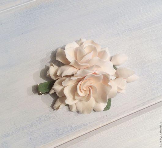 Заколки ручной работы. Ярмарка Мастеров - ручная работа. Купить Заколка для волос с цветами гортензии из полимерной глины. Handmade. Белый