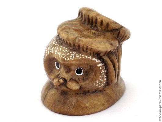 Персональные подарки ручной работы. Ярмарка Мастеров - ручная работа. Купить Ежик с Грибами - статуэтка из камня Кальцит. Handmade. Фигурка